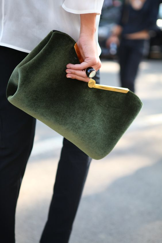 clutch bag green and gold