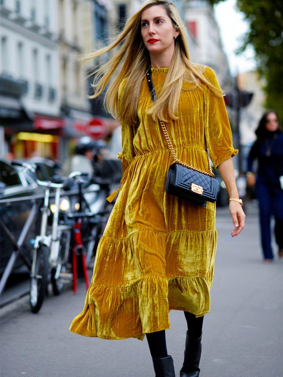 How to wear velvet - Velvet mustard dress
