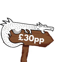 """Wooden sign with white dragon perched on top, reading """"£30 per person"""""""
