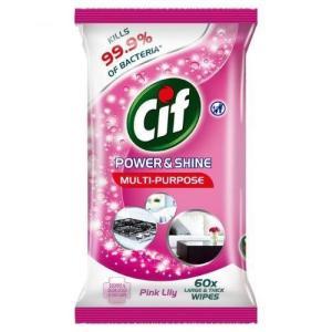 Салфетки влажные дезинфицирующие Cif 60 шт Power&Shine Pink Lilly