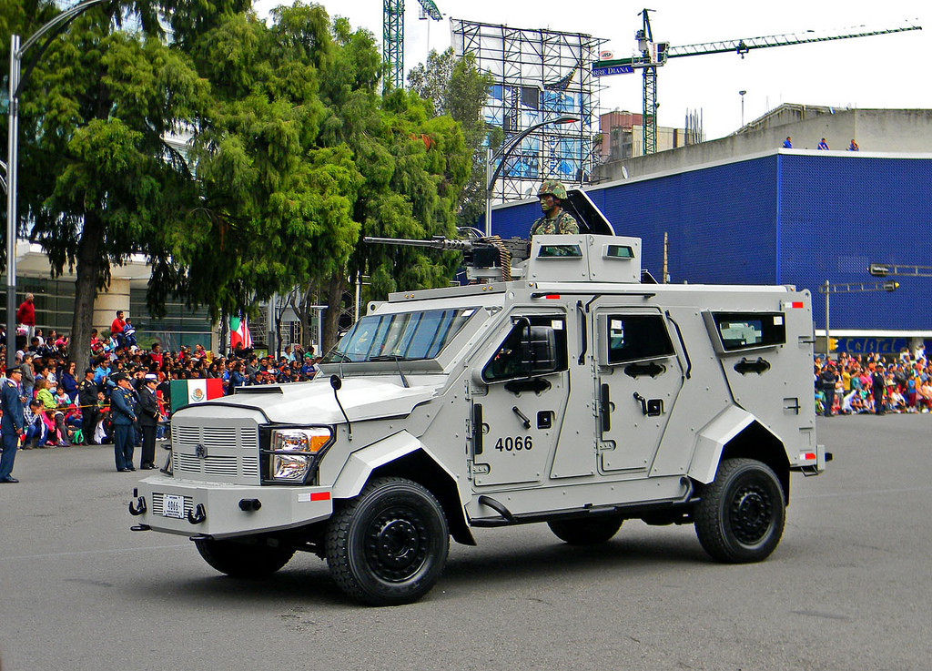 This Mexican DN-XI APC is a stark contrast from the Namer APC. Instead of being based off a tank chassis, this APC is based off of a Ford truck platform. Nevertheless, it performs roughly the same primarly role as the Namer: protecting and transporting soldiers.
