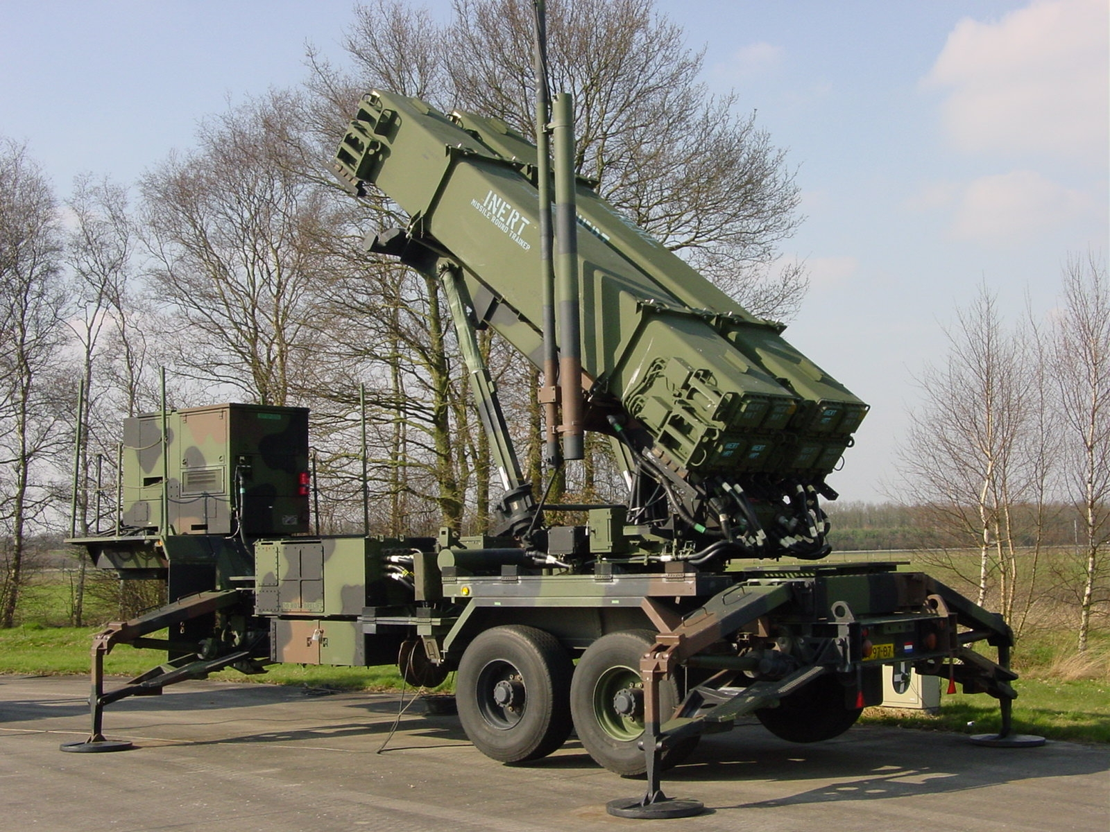 This Dutch-operated American-built Patriot PAC-3 battery's TEL is mounted on a trailer.