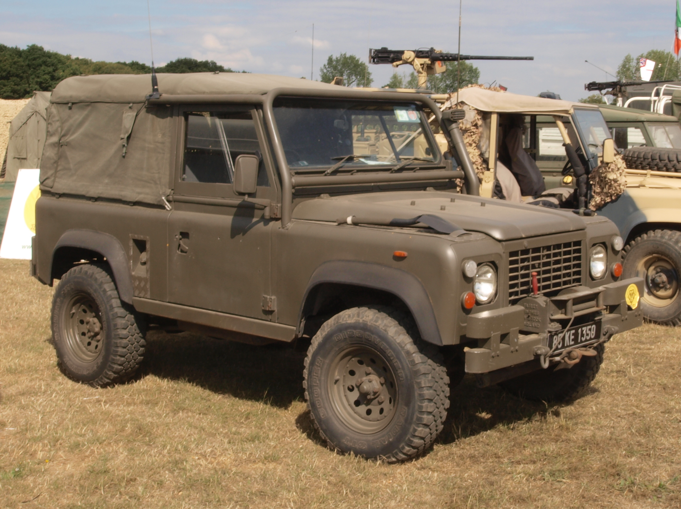 A British Land Rover. This militarized land rover is another prime example of a light utility vehicle, which is essentially a military SUV.