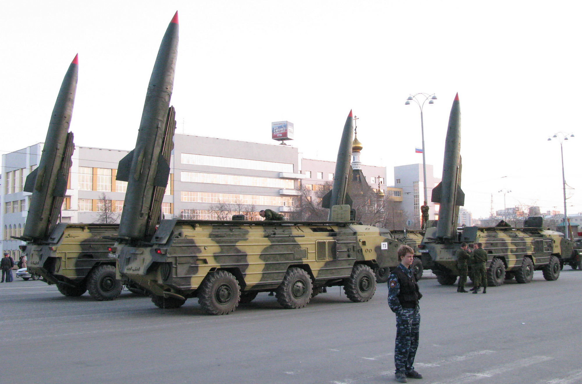 Tochka ballistic missile systems on parade.