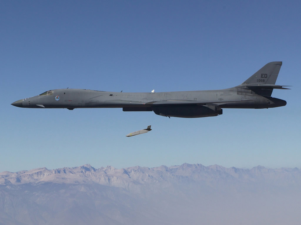 A B-1B strike aircraft deploys a LRASM during testing.