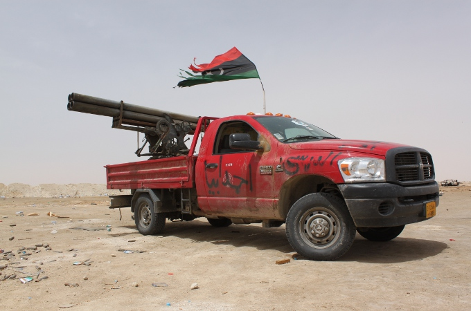 A technical in Libya consisting of a Ram truck and a quadruple rocket artillery mount.