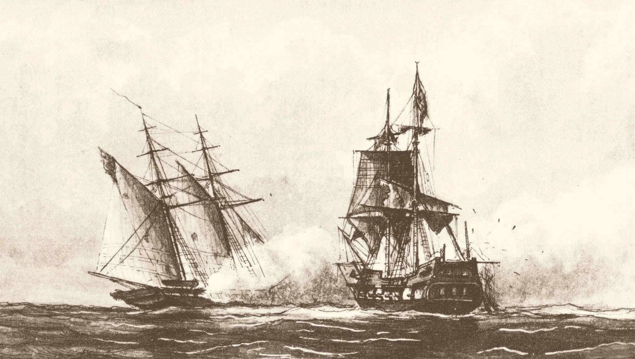 The schooner USS Enterprise captures the corsair Tripoli during battle.