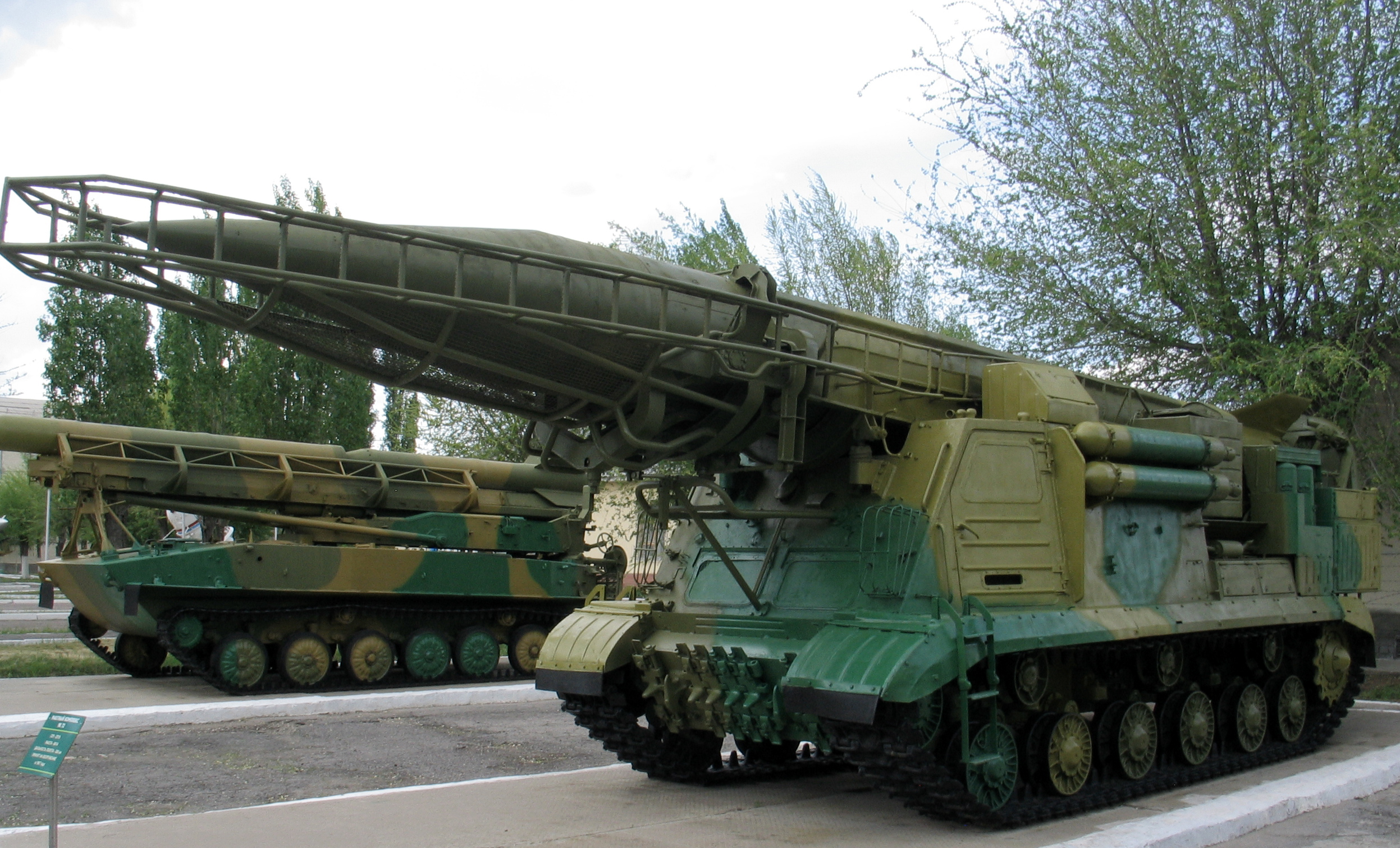 A tracked SCUD transporter-erector-launcher.