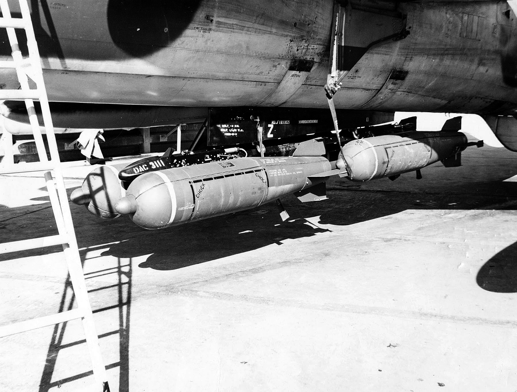 A CBU-24 cluster bomb loaded on an F-105 Wild Weasel aircraft. These cluster bombs would have been employed primarily against SAM sites.