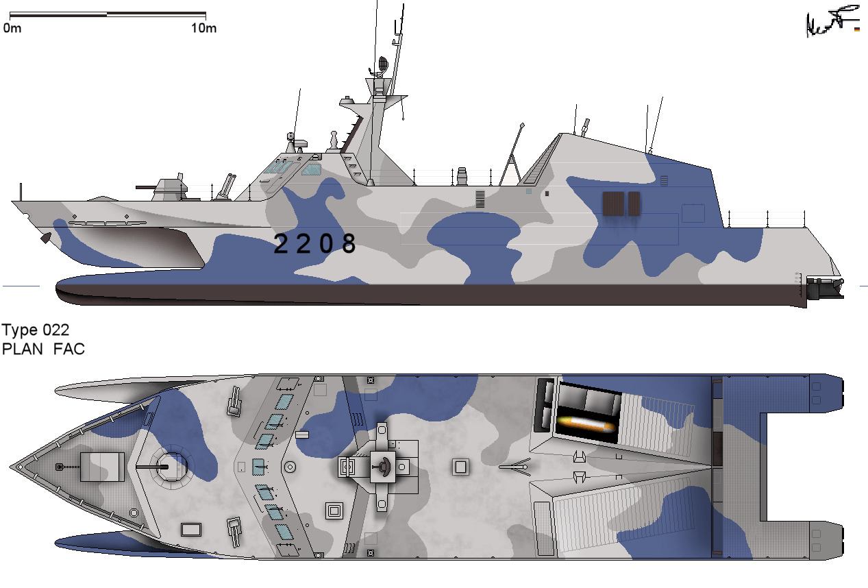 A Type 22 missile boat. Note the scale; small size is a distinguishing feature of the missile boat. Image by alexpl.
