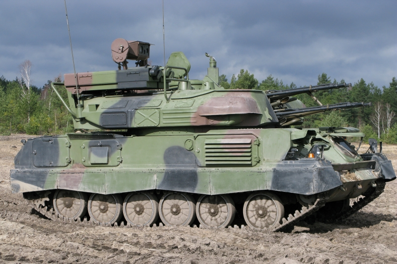 A ZSU-23-4MP. Note the box-shaped missile launcher mounted at the rear of the turret.