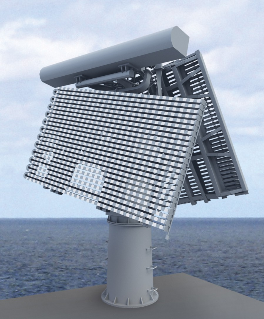 A 3D rendering of the Fregat M2EM air search radar. Image source.