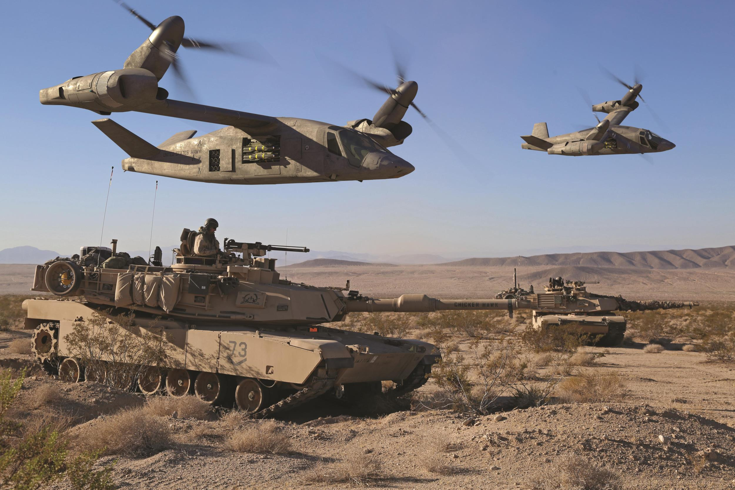 A Bell rendering of V-280 Valor tiltrotors operating with M1A2 Abrams main battle tanks.