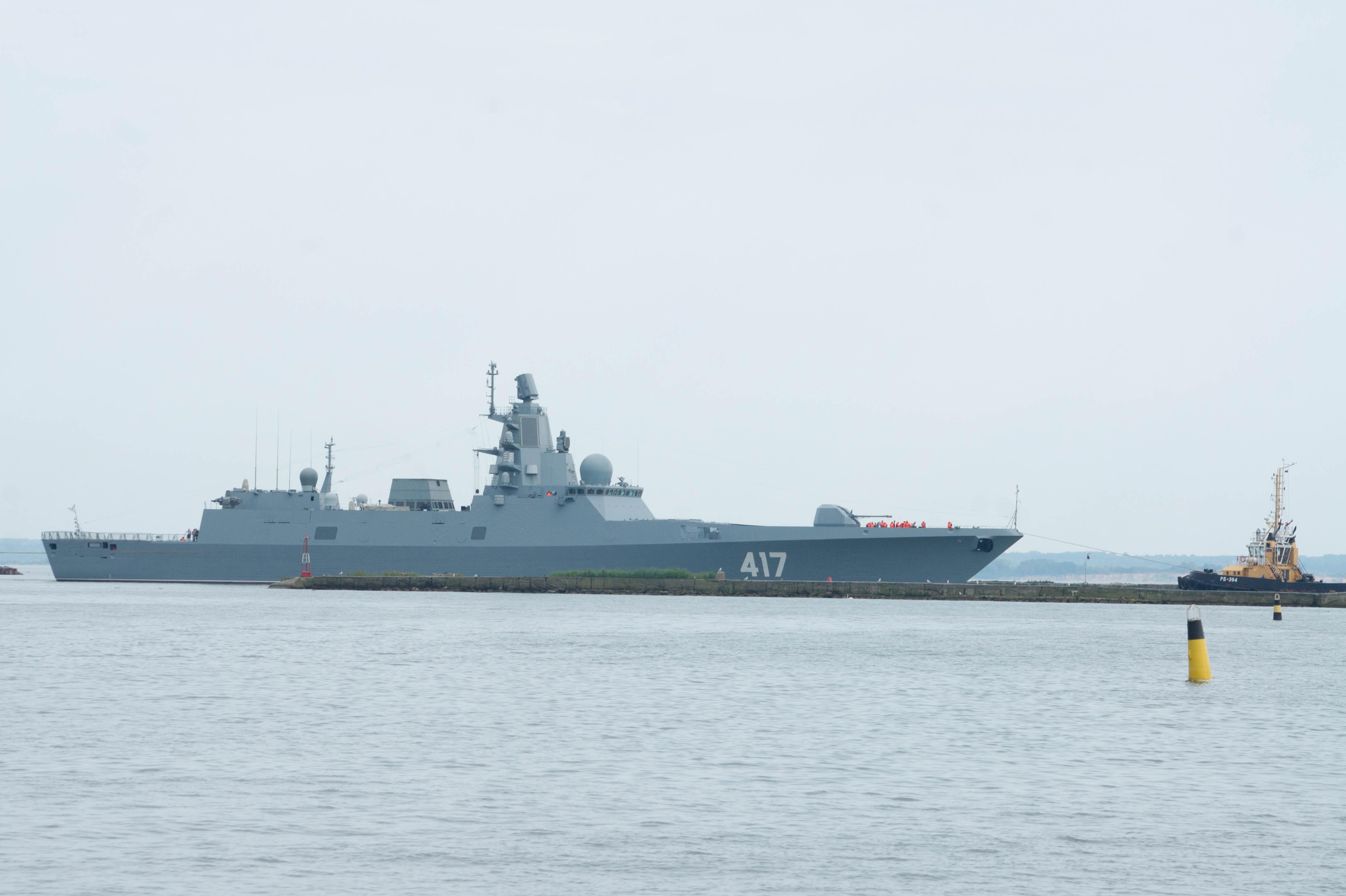 A Gorshkov-class frigate under tow.