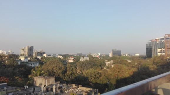 Rooftop bar view of Pune