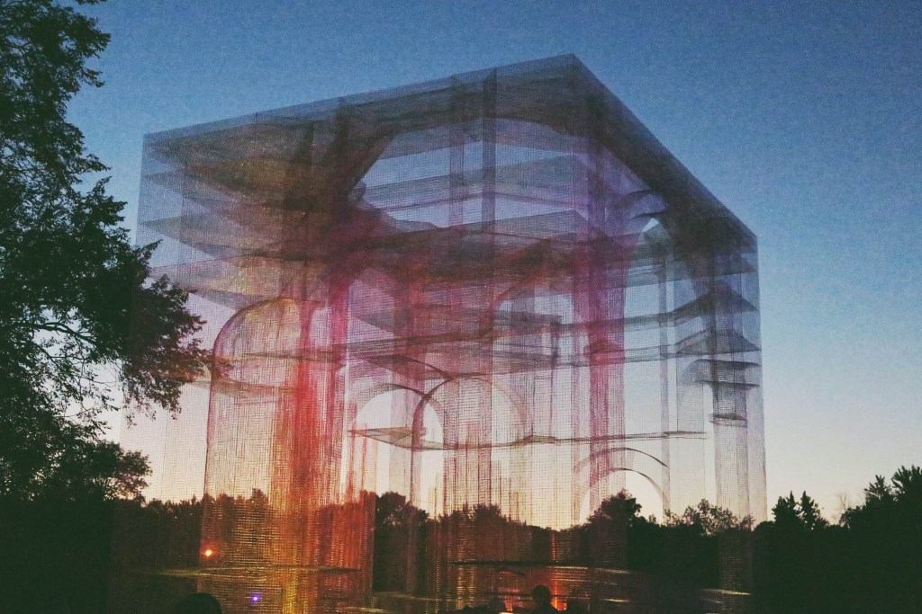 "this was a stunner. ""baroque"" - a collaborative performance project featuring a once in a lifetime convergence of compositional organ music set within massive baroque organ cuboid sculpture created by Edoardo Tresoldi. a show-stopper at night."