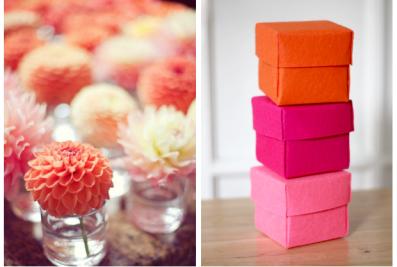 Orange dahlia & boxes