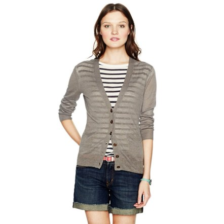 Skinny belt, denim shorts, stripes, sweater ~ Fossil