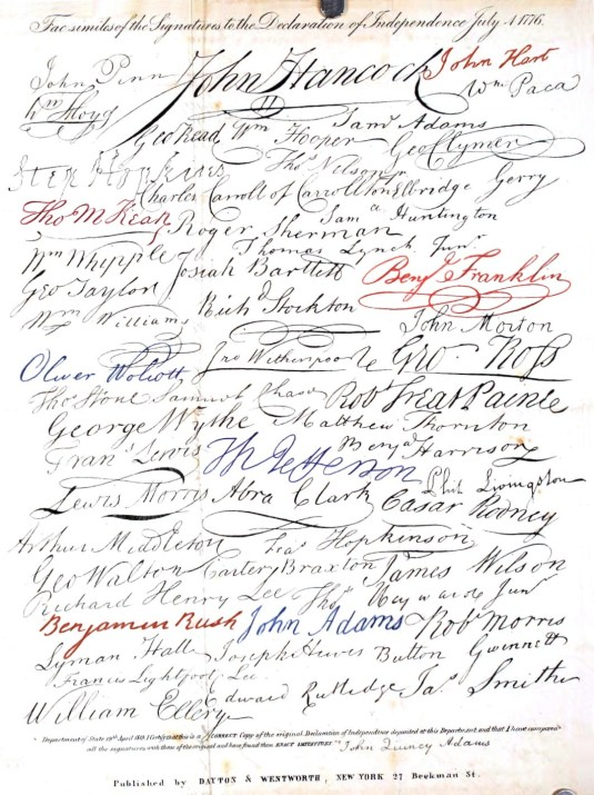 July 4th, Signatures Declaration of Independence