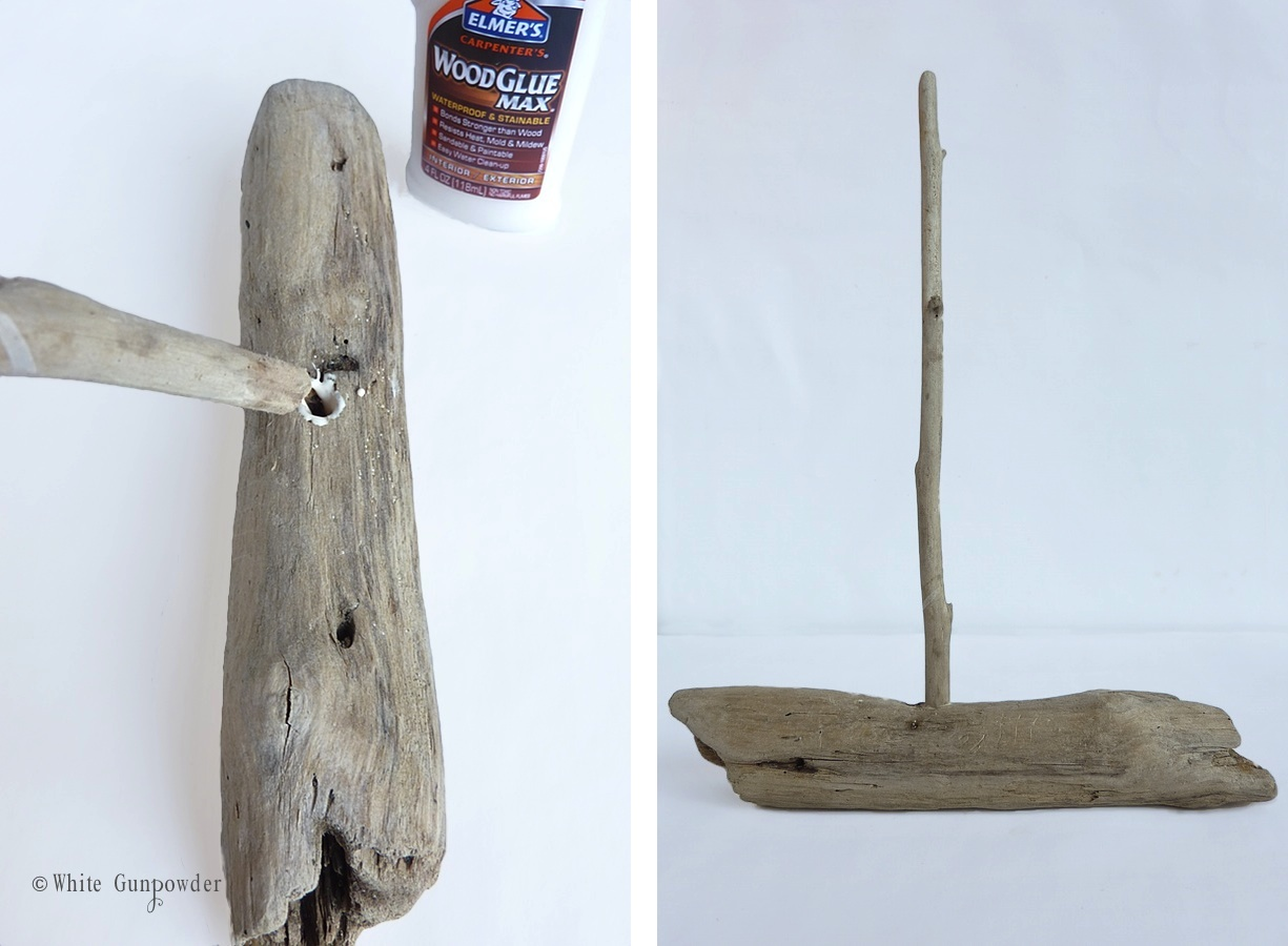 Driftwood lamp 11 diy s guide patterns - Drill A Hole In The Center Of The Driftwood Large Enough To Accommodate A Long Stick For The Mast Squeeze Wood Glue Into The Hole And Push The Stick In It