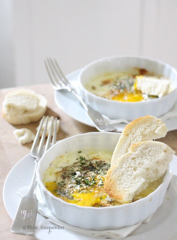 Eggs baked with herbs