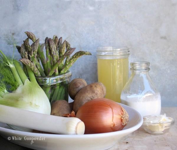 Potato, fennel and leek soup with fresh asparagus