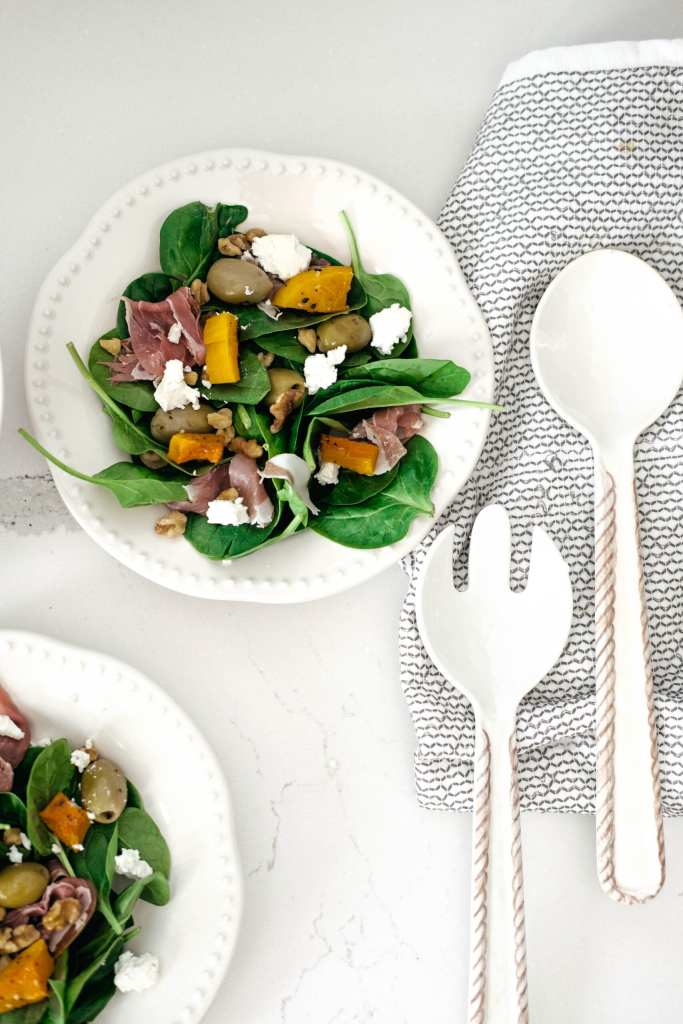 plate of harvest spinach salad