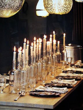 Recyled bottles used for candle holder - Rustic elegance