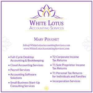 Logo Mary Pougnet List of Services White Lotus Accounting Services