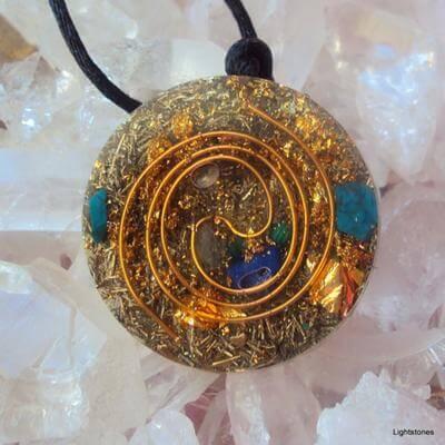 Lightstones orgone golden spiral pendant