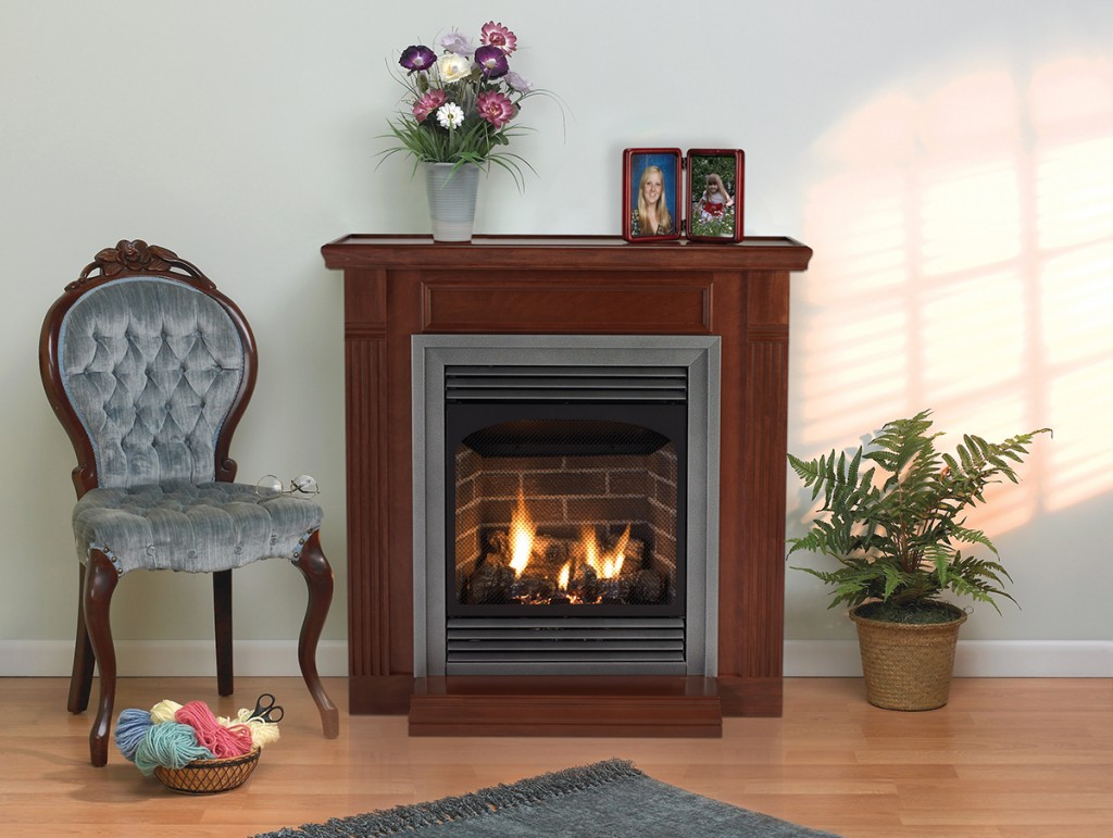 Ventless Natural Gas Fireplace With Mantel
