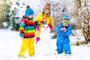 snowman, winter, holidays, children playing snow