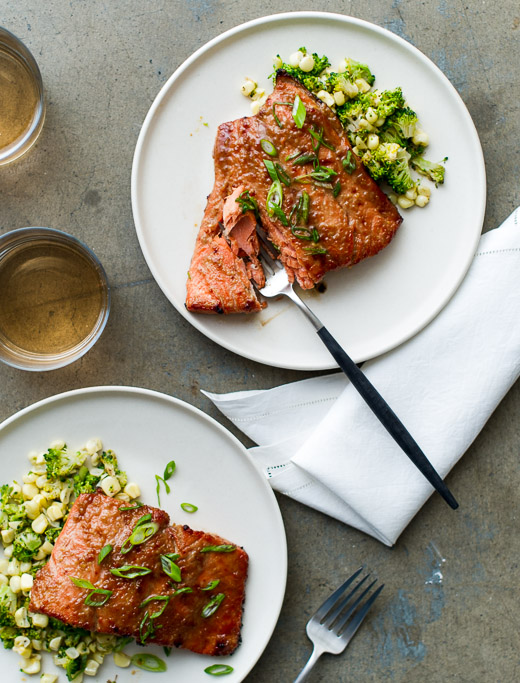 Broiled Miso-Glazed Salmon Recipe- A quick, healthy and delicious everyday dinner recipe on WhiteOnRiceCouple.com