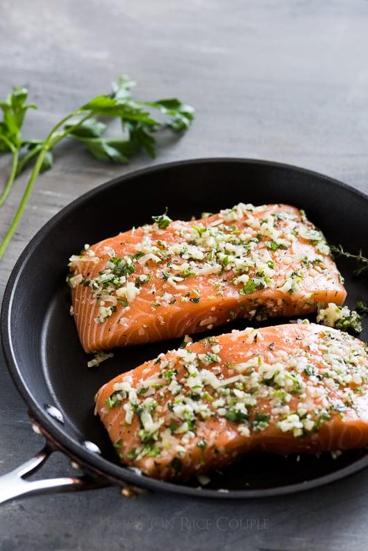 Healthy Garlic Parmesan Salmon Recipe Oven Baked | @whiteonrice