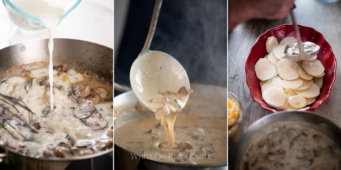 Receta de papas gratinadas con salsa de champiñones | @blanco