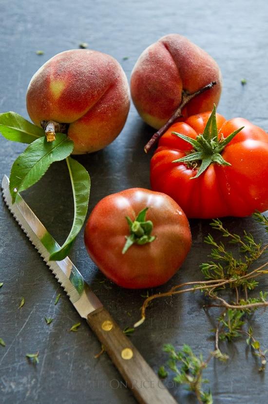 Peach Salad and Heirloom Tomato Salad Recipe   @whiteonrice