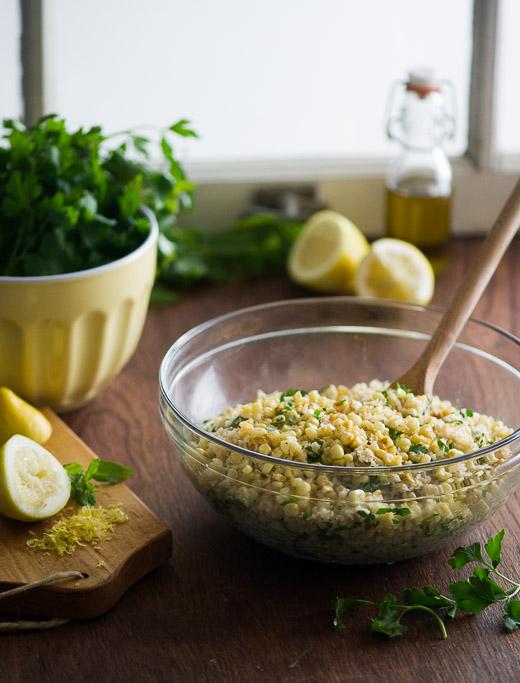 Roasted Corn Tabouli Recipe on WhiteOnRiceCouple.com