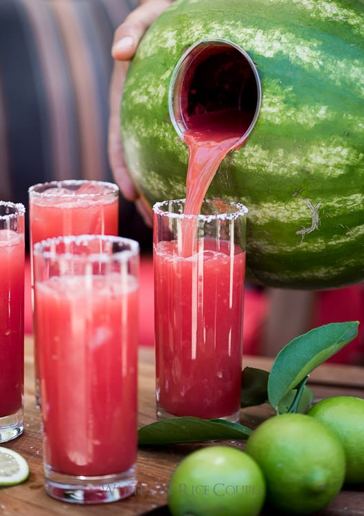 Watermelon Margaritas Recipe made inside the watermelon and blended   @whiteonrice