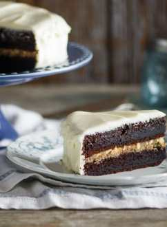 Black Magic Cake with Cream Cheese Frosting and Butterscotch filling from White On Rice Couple