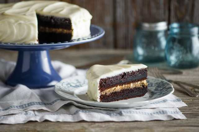 Black Magic Cake with Cream Cheese Frosting and Butterscotch filling from WhiteOnRiceCouple.com