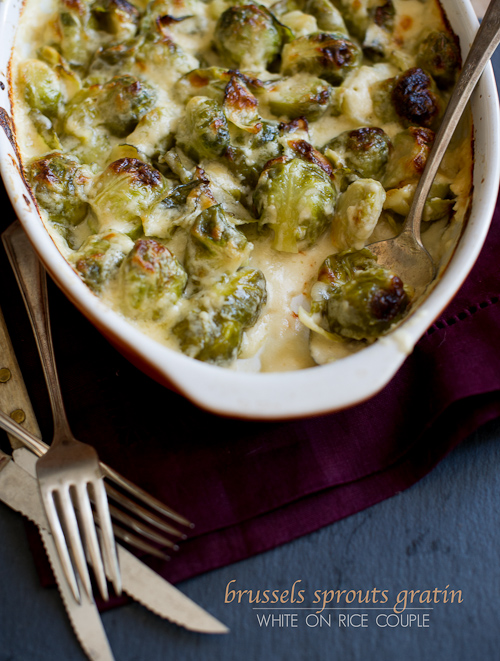 Cheesy Brussels Sprouts Gratin Recipe for Thanksgiving Brussels Sprouts Casserole Recipe   @whiteonrice