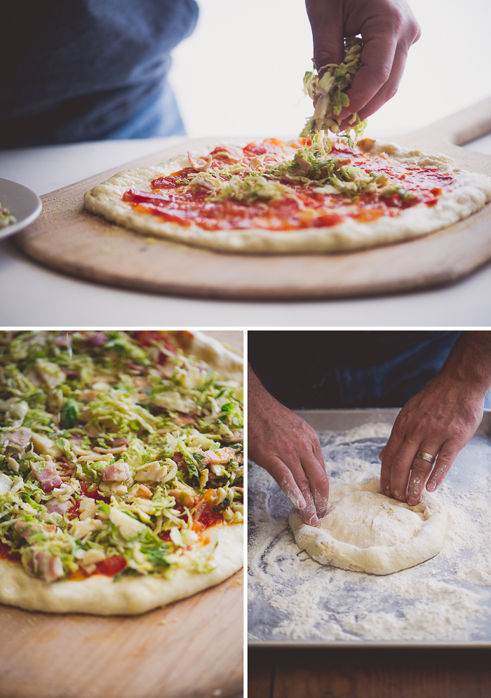Brussels Sprouts and Bacon Pizza from WhiteOnRiceCouple.com