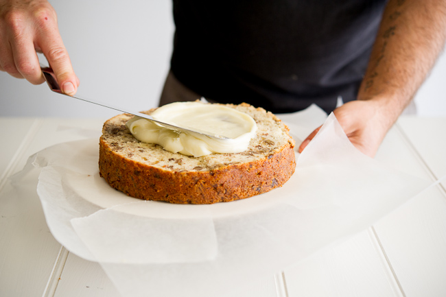 Banana Cake recipe with Butterscotch Frosting from WhiteOnRiceCouple.com