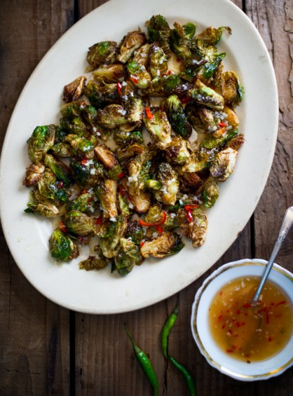 Crispy Fried Brussels Sprouts with Mom's Chili Fish Sauce from @whiteonrice