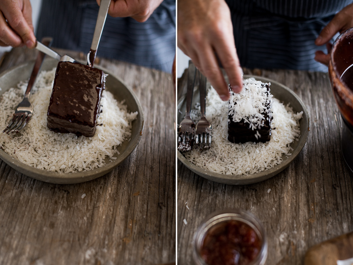 Australian Lamingtons Cake- sponge cake filled with jam, coated in chocolate & coconut from White On Rice Couple