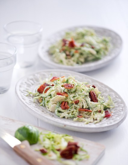 Shaved Brussels Sprouts Slaw with Bacon and Pecans Recipe on @whiteonrice