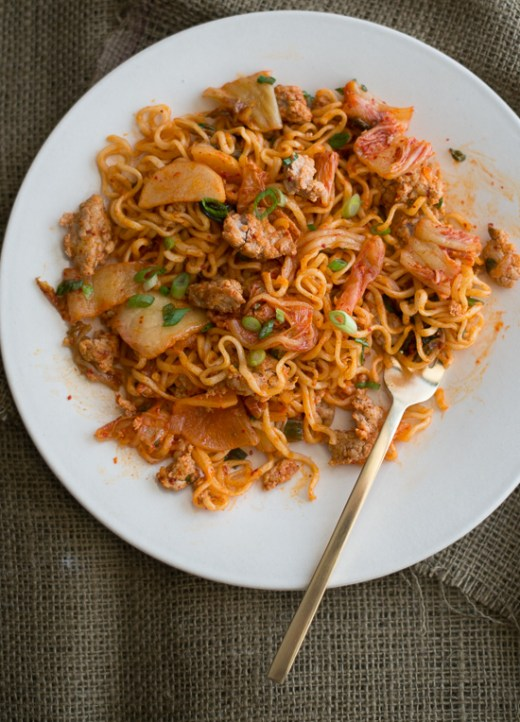 Favorite Pork and Noodle Stir Fry with KimChi. These are loaded with flavor and so delicious. on WhiteOnRiceCouple.com