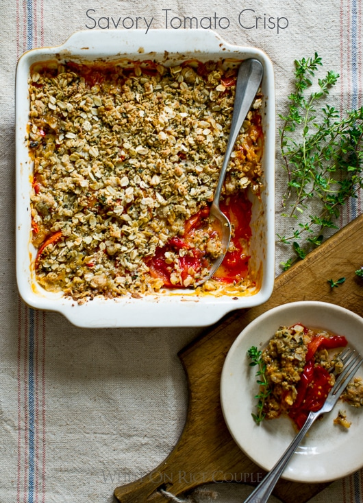 Savory tomato crisp recipe with fresh heirloom tomatoes recipe @whiteonrice