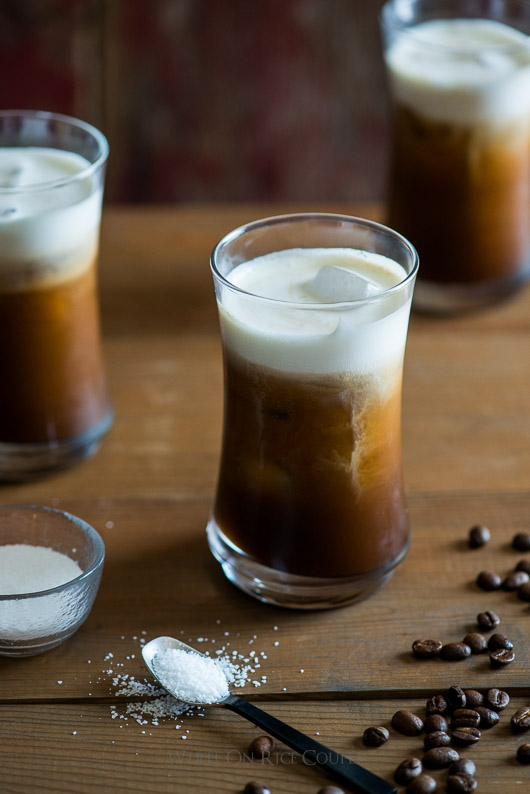 Addicting Sea Salt Iced Coffee with Sea Salt Cream Recipe on @whiteonrice