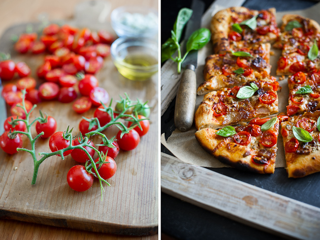 Cherry Tomato, Bacon and Blue Cheese Pizza Recipe on White on Rice Couple